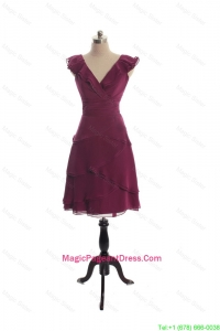 The Super Hot V Neck Burgundy Short Pageant Dresseswith Ruffles