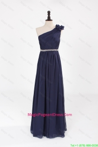 Comfortable Empire Asymmetrical Beaded Pageant Dresses with Belt