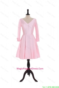 Custom Made A Line V Neck Pageant Dresses in Baby Pink