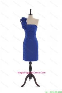 Custom Made Column Asymmetrical Pageant Dresses with Hand Made Flowers