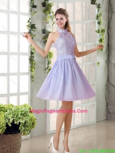 Beautiful A Line High Neck Lace Pageant Dresses with Lavender
