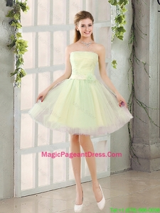 Custom Made A Line Strapless Tulle Pageant Dresses with Belt