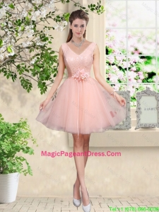 Decent V Neck Baby Pink Pageant Dresses with Hand Made Flowers