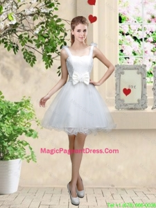 Elegant Straps Pageant Dresses with Bowknot and Hand Made Flowers