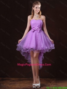 Pretty Strapless Bowknot Pageant Dresses with High Low