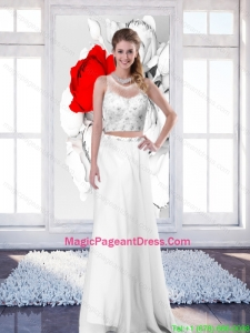 2015 New Style Empire Scoop White Pageant Dresses with Brush Train
