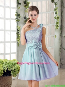 2016 Summer A Line One Shoulder Pageant Dresses with Lace