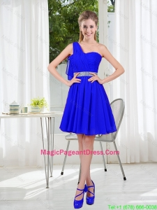 Custom Made One Shoulder Mini-length Pageant Dresses in Royal Blue