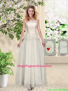 Perfect Champagne Pageant Dresses with Appliques and Lace