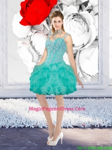 Sexy Ball Gown Beaded Pageant Dresses with Straps in Turquoise