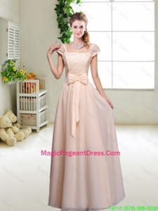 Cheap Laced Square Pageant Dresses with Bowknot