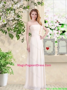 Cheap One Shoulder Hand Made Flowers Pageant Dresses in Champagne