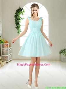 Comfortable Straps Light Blue Pageant Dresses with Hand Made Flowers