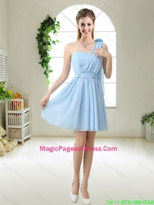 Decent One Shoulder Pageant Dresses with Hand Made Flowers