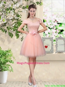Discount Off the Shoulder Hand Made Flowers Pageant Dresses in Baby Pink