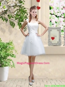 Discount One Shoulder Appliques Pageant Dresses in White