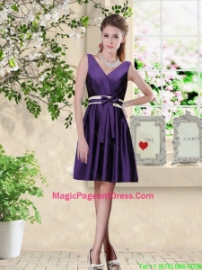 Discount V Neck Zipper Up Pageant Dresses in Dark Purple