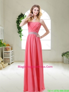 Elegant Strapless Pageant Dresses in Watermelon Red