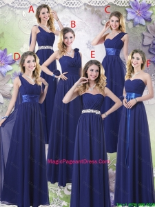 New Style Empire Floor Length Pageant Dresses in Navy Blue