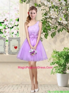 Popular A Line One Shoulder Laced Pageant Dresses in Lavender