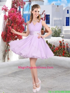 Pretty Mini Length Belt Chiffon Pageant Dresses with V Neck