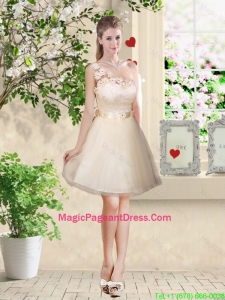 Pretty One Shoulder Champagne Pageant Dresses with Appliques
