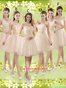 Sturning Knee Length Champagne Pageant Dresses with Appliques and Belt