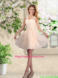 Suitable V Neck Appliques Pageant Dresses in Champagne