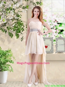 Affordable High Low Sweetheart Pageant Dresses in Champagne