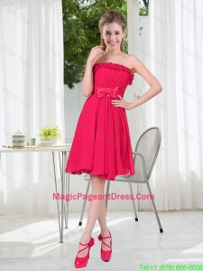 Coral Red Strapless Bowknot Pageant Dresses for 2016 Summer