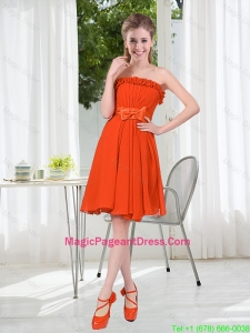 Summer A Line Strapless Bowknot Pageant Dress in Rust Red