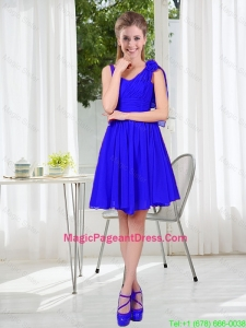 2016 Fall Straps Short Pageant Dresses in Royal Blue