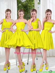 2016 Summer Simple One Shoulder Pageant Dresses in Yellow Green
