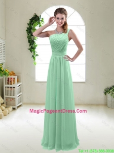 Classical Apple Green One Shoulder Pageant Dresses with Zipper up