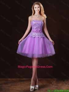 Classical Laced and Appliques Pageant Dresses with Strapless