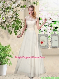 Classical Scoop Appliques Pageant Dresses in Champagne