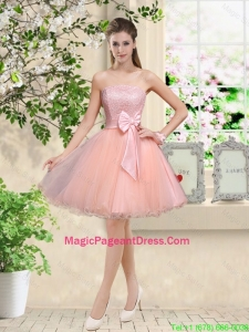 Popular Strapless Mini Length Pageant Dresses with Appliques and Bowknot