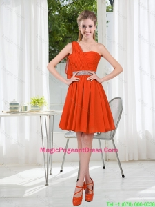 Rust Red One Shoulder Pageant Dresses with Beading and Belt