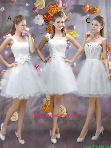 Sophisticated Appliques White Pageant Dresses with Mini Length