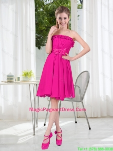 Summer A Line Strapless Short Pageant Dresses with Bowknot