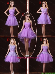 2016 Popular Laced Lilac Pageant Dresses with A Line