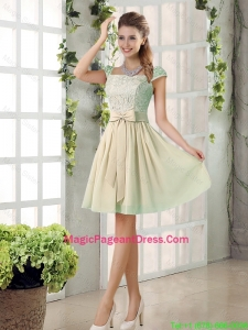 2016 Spring A Line Square Pageant Dresses with Bowknot