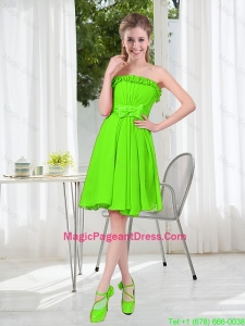 A Line Strapless Bowknot Custom Made Pageant Dresses in Spring Green