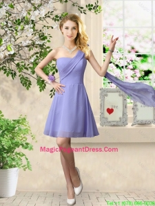 Cheap One Shoulder Ruched Pageant Dresses in Lavender