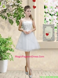 Classical Appliques and Beaded White Pageant Dresses with Strapless