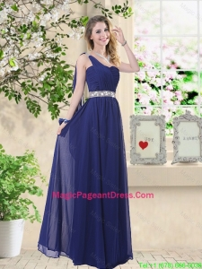 Comfortable One Shoulder Pageant Dresses in Navy Blue