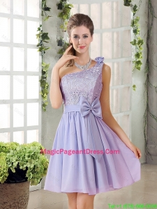 Custom Made A Line One Shoulder Lace and Bowknot Pageant Dresses
