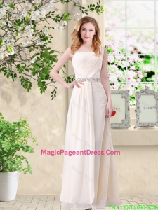 Discount Empire One Shoulder Champagne Pageant Dresses with Belt