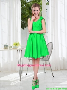 Elegant A Line Straps Green Pageant Dresses with Hand Made Flowers