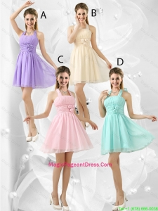 Luxurious Short Halter Top Pageant Dresses with Ruching